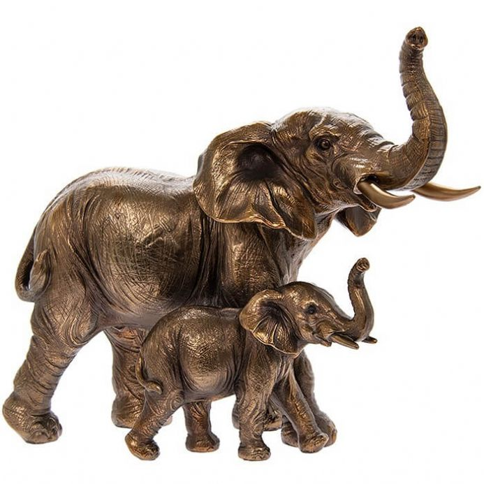 Reflections Bronze Effect Elephant and Baby Sculpture